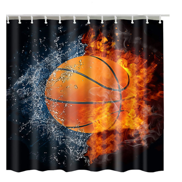 High Quality Sports Basketball Shower Curtain Custom Design Creative Curtains Bathroom Waterproof Polyester Fabric