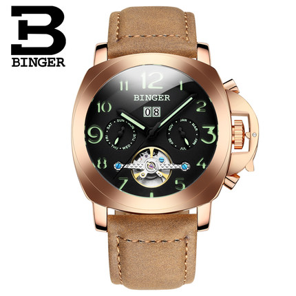 Binger Luxury Auto Mechanical Watches Handmade Date Tourbillon Mens Wrist Watch Switzerland Original Wristwatch Rose Gold original binger mans automatic mechanical wrist watch date display watch self wind steel with gold wheel watches new luxury