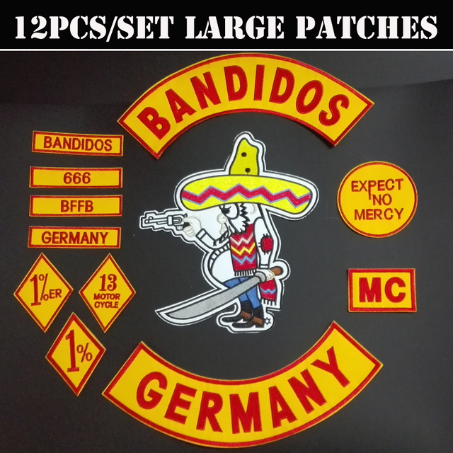 12 teile satz bandidos deutschland patches lieferanten f r. Black Bedroom Furniture Sets. Home Design Ideas