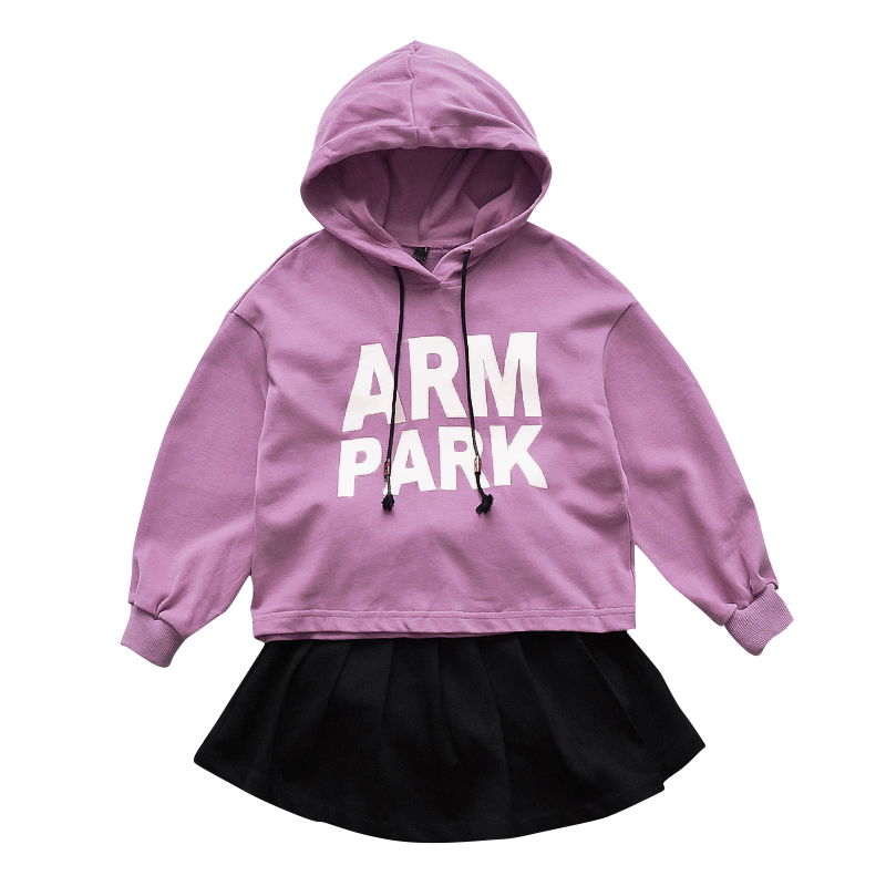 Girls Clothing Sets Loose Letters Hoodies For Girls & Skirts 2Pcs 2018 Autumn Kids Tees Children Streetwear 4 6 8 10 11 12 Years цена 2017