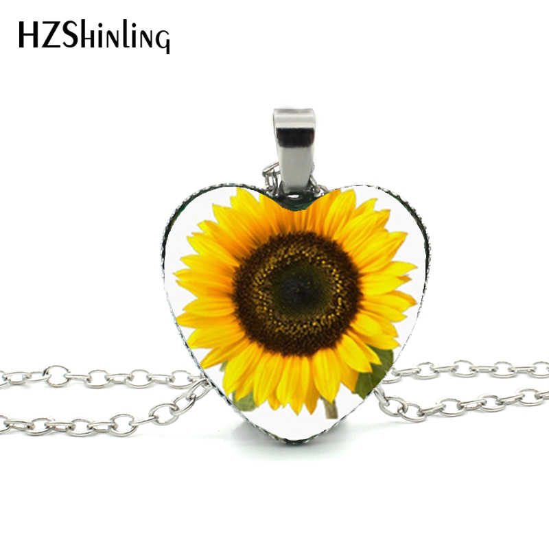 New Sunflower Heart Necklace Yellow Sunflower Pendant Glass Picture Jewelry Silver Heart Necklace HZ3
