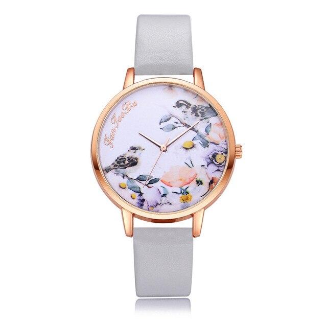 Women Leather New Design Fashion Watches Flowers Ladies Female Quartz Wrist Watc