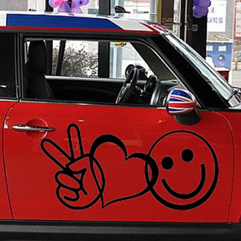 58 см x 29 см 2 x Peace Love счастье (один для каждой стороны) виниловая наклейка окна автомобиля стены символ сердца Новинка Стикеры