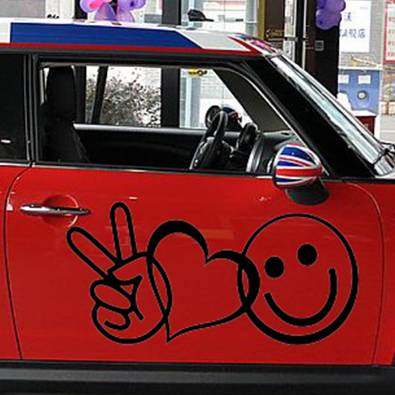58cm x 29cm 2 x Peace Love Happiness (one For Each Side)Vinyl Decal Car Window Wall Heart Symbol Novelty Sticker