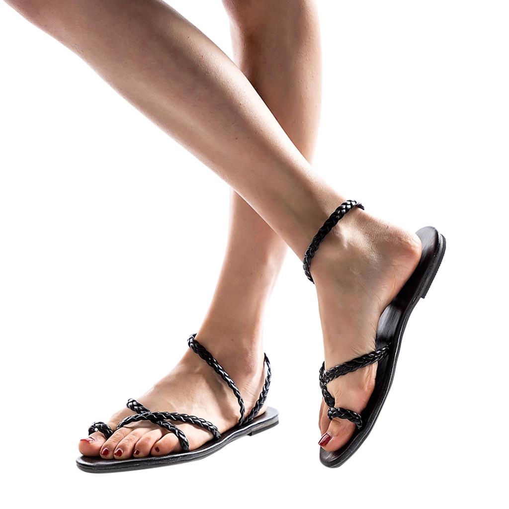 Youyedian Scarpe Da Donna Slip On Cinturino Alla Caviglia Della Signora Tacco Basso Di Colore Della Caramella Femminile Sandalo Di Modo Di Stile Romano Sandalia Plataforma Mujer