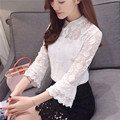 Flare Sleeve White Lace Blouse Women 2017 New Spring Summer Tops Vintage Ladies Office Shirts Sexy Hollow Out Chemise Femme