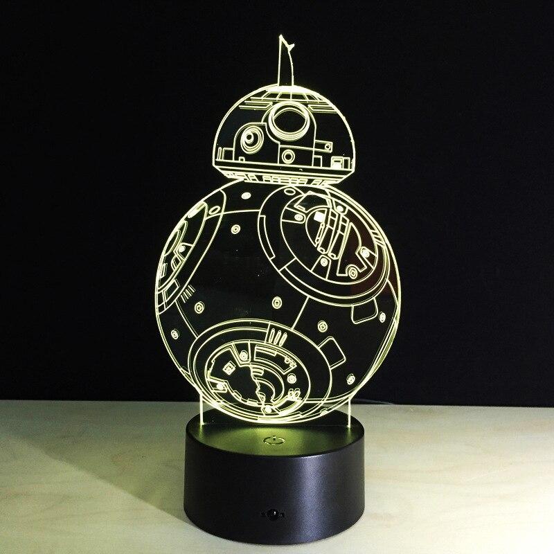BB8 Звездные войны Sphero Droid 3D ночник BB-8 робот фигурка игрушка лампа 7 видов цветов Изменение подарок для детей домашний декор Прямая поставка