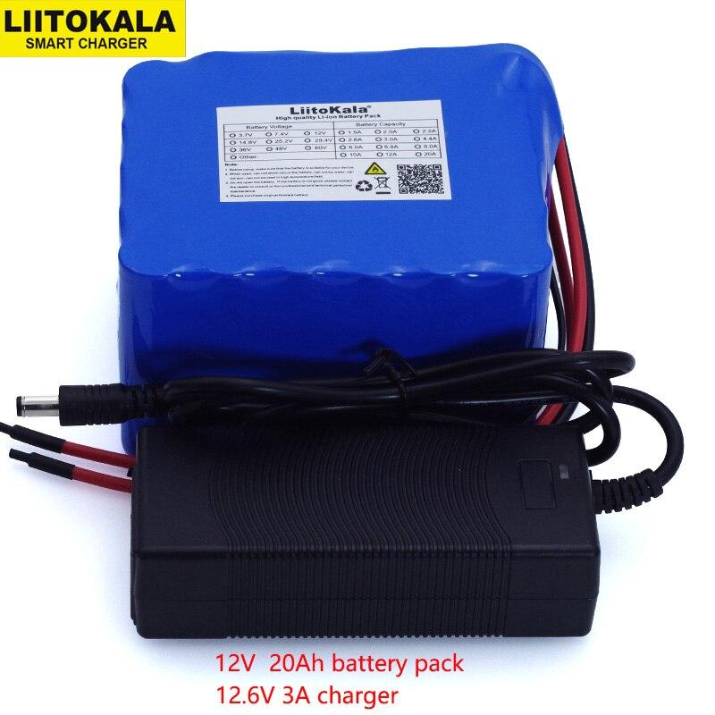 LiitoKala 12 v 20Ah haute puissance 100A décharge batterie BMS protection 4 ligne sortie 500 w 800 w 18650 batterie + 12.6 v 3A Chargeur