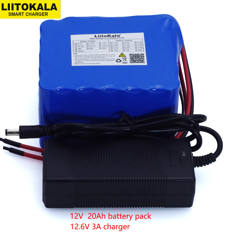 LiitoKala 12V 20Ah high power 100A discharge battery pack BMS protection 4 line output 500W 800W 18650 battery+ 12.6V 3A Charger-in Battery Packs from Consumer Electronics
