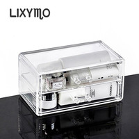 Free Shipping Cosmetic Makeup Jewelry 2 Drawers Organizer Storage Display Stand Case Rack Holder Acrylic Clear
