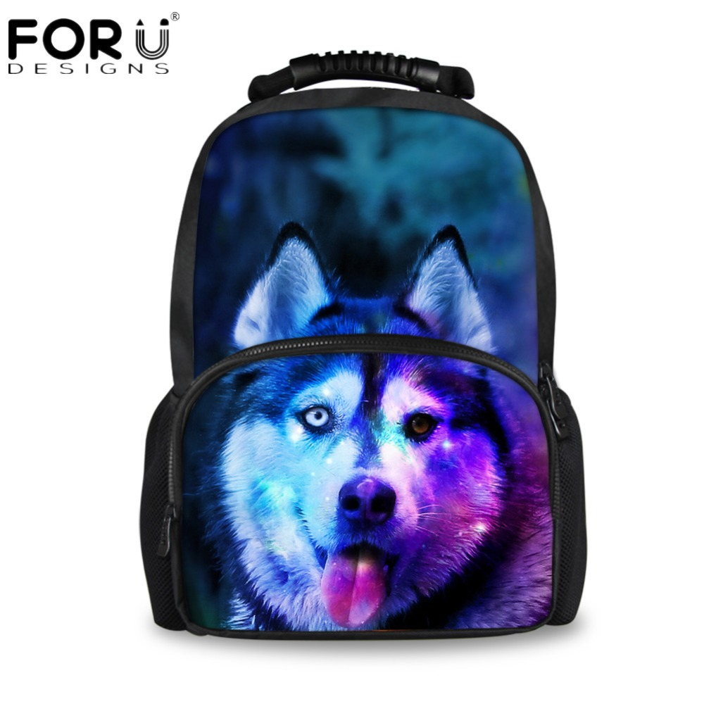 FORUDESIGNS Vintage School Bags for Teenagers Boys Schoolbag Large Capacity Canvas Husky Printing College Student Book Bags Kids ...