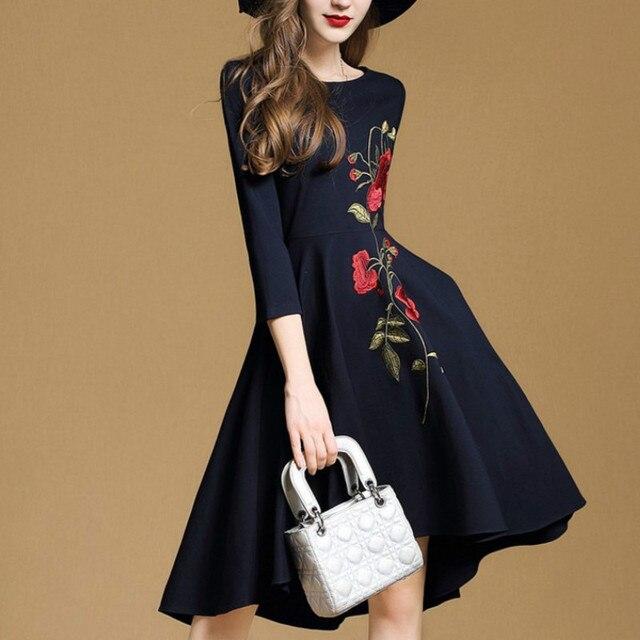 616def8a8d H 2018 Trendy Jesień Sukienka Haft Nierówne Sukienka Moda Jesień Sukienka  Kobiety Odzież Linii