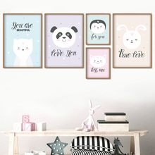 Cartoon Panda Rabbit Penguin Cat Nordic Posters And Prints Wall Art Canvas Painting Nursery Pictures For Kids Room Decor