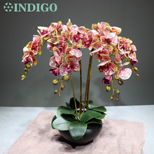 INDIGO-Coffee Orchids Flower Arrangment Real Touch Table Centerpiece Office Reception Desk Decoration Event Free Shipping