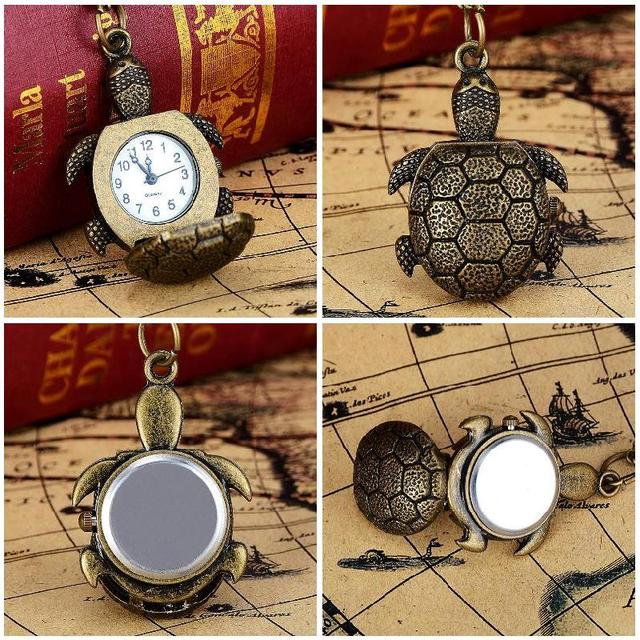 Vintage Women Men Turtle Shape Pocket Watch With Necklace Watch Gift LXH