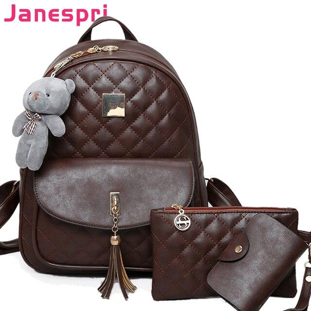 2018 New Shoulder Bags 3 Pcs Bear Tassel Backpack Women Bag Diamond Lattice  School Bags for Girls Backpacks for Women Sac A Dos 844dab4556c5d