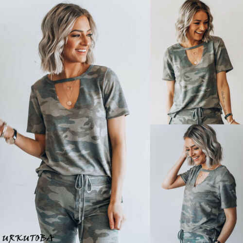 2019 donne Camouflage T Shirt Felpa Manica Corta Low Cut Collo a V Magliette E Camicette Casual Top