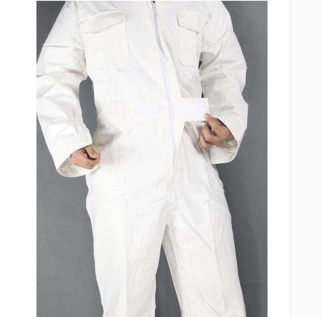 Men's Cotton Jumpsuits One-piece Tide Men's Tooling White Work Overalls Long Sleeve Working Coveralls Workwear Repairman Xs-3xl 4