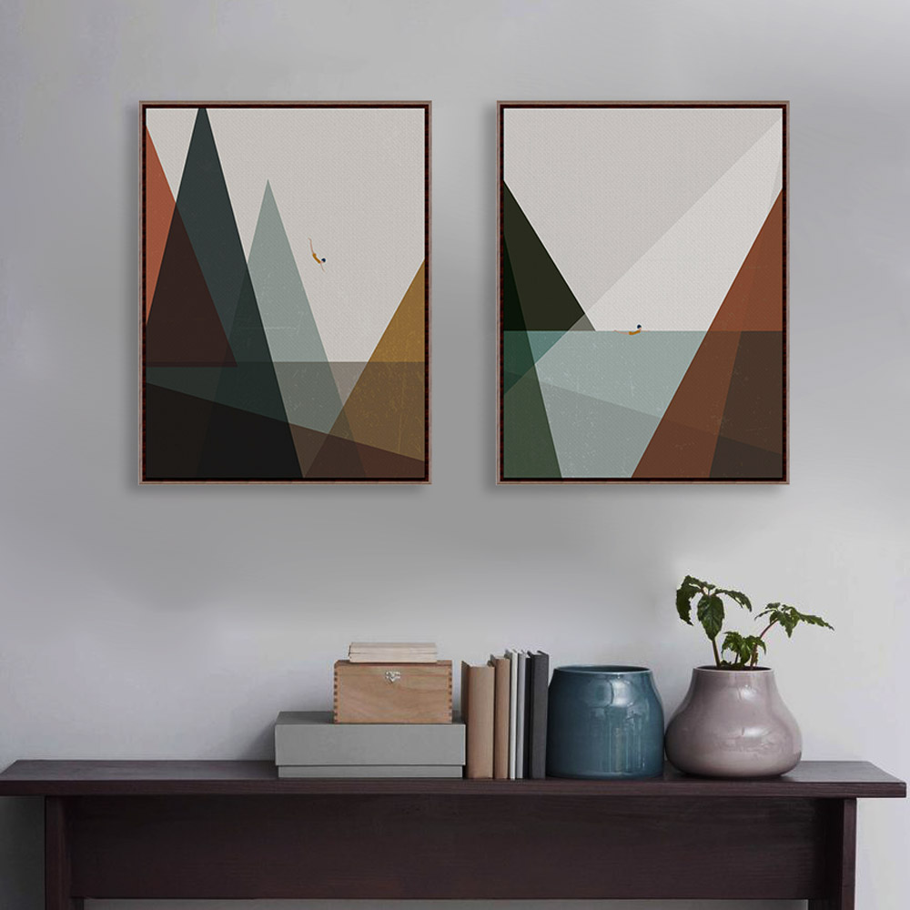 Abstract minimalist landscape mountain sea a4 art print for Minimalist wall art