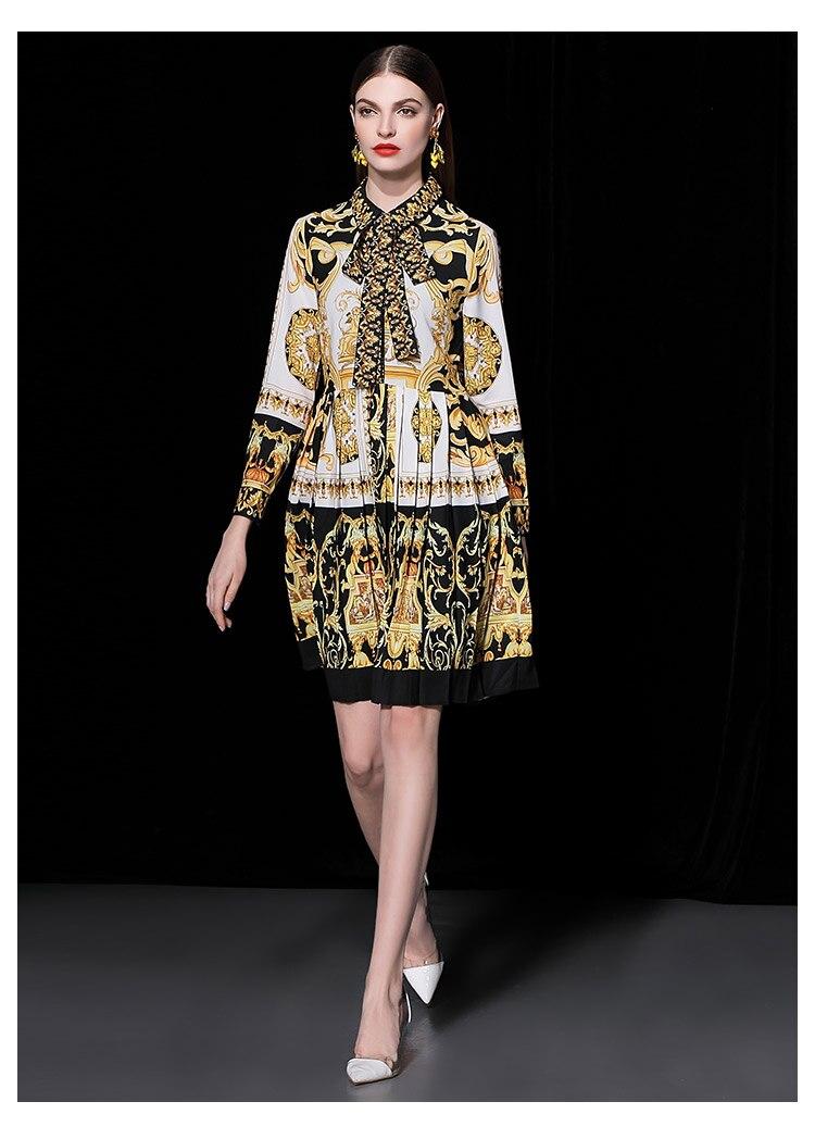 Femmes Le Haute Mode Nouvelle Arrivée Élégant Dentelle Taille Vers Vintage Piste 2018 Robe Vêtements Impression De Tournent Plissée As Bas Up Mince Pic hQdCtsrx