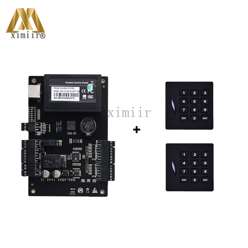 Good quality ZK C3-100 Door Access Control Panel With 2pcs 125KHZ Card Reader With TCP/IP Communication 1 Door Access Controller c3 100 access control board access control panel with weigand card reader and touch exit button good quality electric door lock