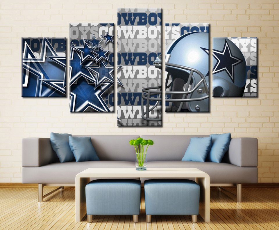 5 Pieces Dallas Cowboys Modular Picture Wall Art Modern Wall Picture Home  Decor Living Room Or