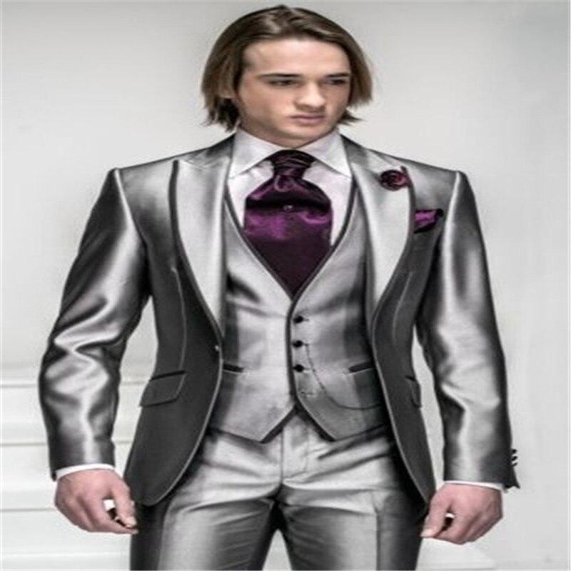 New Korea-Satin Bright Silver With Black Brim Groom Tuxedos Man Wedding Suits Prom/Formal/Bridegroom Suit (Jacket+Pants+Ves
