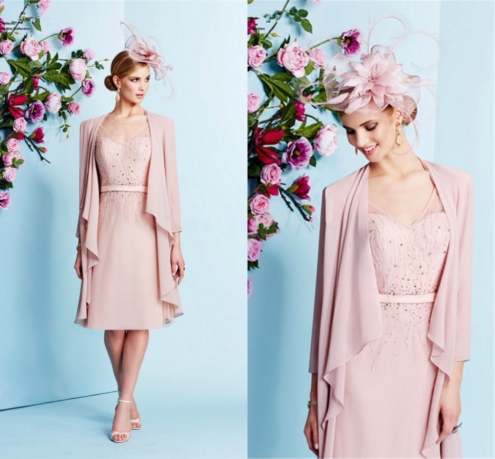 2015 Hot Sale Mother Of The Bride Dress Pink Chiffon Jacket Wedding ...