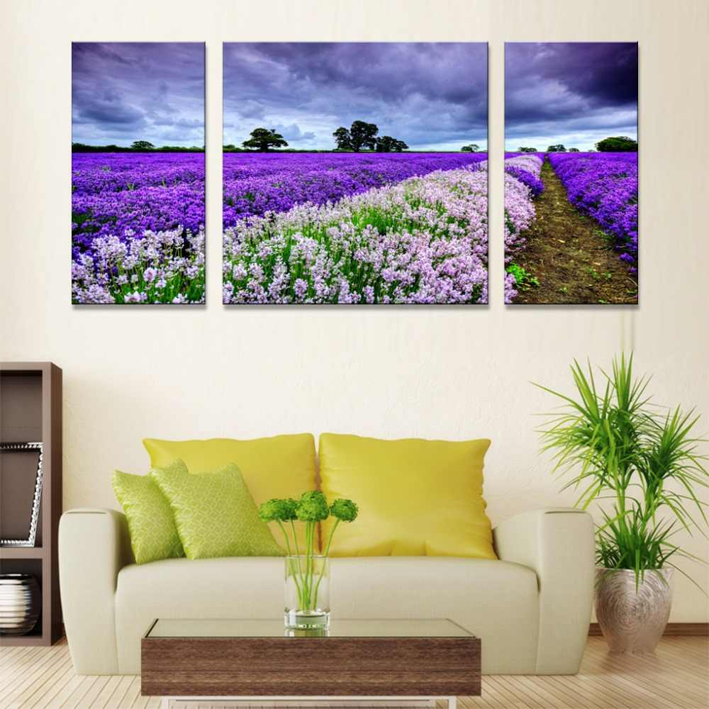Wall Art Canvas Print Abstract Modern Painting On Canvas, Nordic Triptych, Lavender Landscape Picture HD Print Canvas Painting,