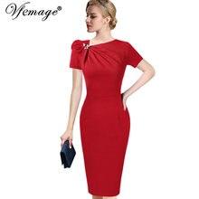 968b6f8150 Vfemage Otoño de mujer elegante falda lazo cuello asimétrico de manga 3 4  Slim trabajo de oficina de negocios de fiesta cóctel v.