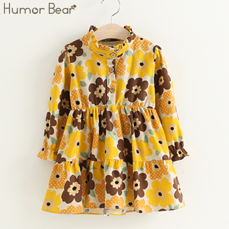 Humor Bear Girls Dress 2017 New Autumn Brand Baby Kids Dress Printing Flowers Kids Dress Children Clothing Dress 3-7Y interatletika бт 113