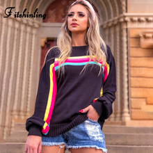 Fitshinling Rainbow Stripe Winter Sweater Women Clothing 2019 Long Sleeve Pullovers Sweaters Knitwear Holiday Jumper Pull Femme