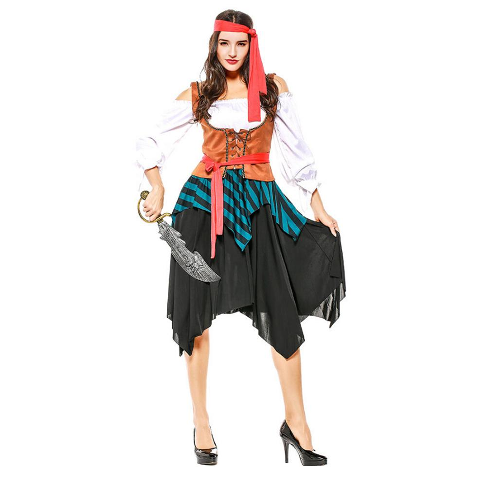 Sexy Stage Performance Costume Female Pirate Crew Halloween Carnival Party Role Playing Cosplay Women Pirate Costume Suit Adult