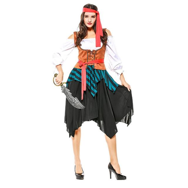 Sexy Stage Performance Costume Female Pirate Crew Halloween Carnival