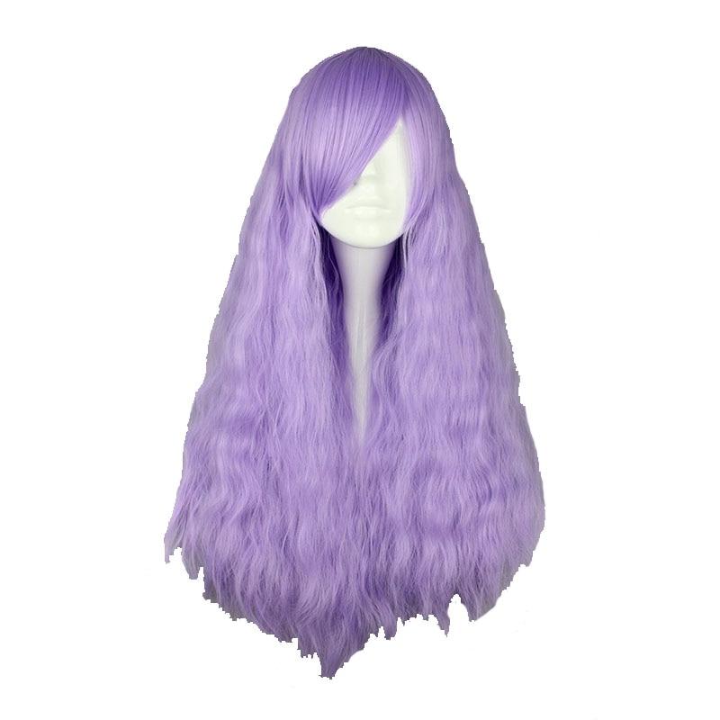Mcoser 70 Cm Langes Lockiges Licht Lila Synthetische Perücke 100% Hochtemperaturfaser Haar Wig-432a Heller Glanz Kunsthaarperücken