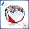 Fashion 100% 925 Sterling Silver Jolly Santa, Red & White Enamel Charm Fit Bracelet Necklace Jewelry Making