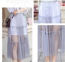 Women Long Skirt Summer Korean Ladies Boho Sexy Vintage High Waist Transparent Tulle Mesh Lace Clear Black MIdi Skirts Female