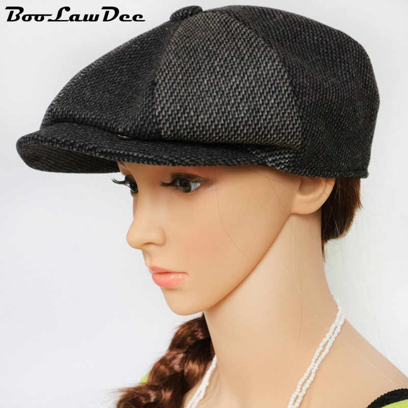 bd5f36eb8fef80 BooLawDee color patchwork woolen cloth leisure newsboy cap campaniform for  men and women early spring and