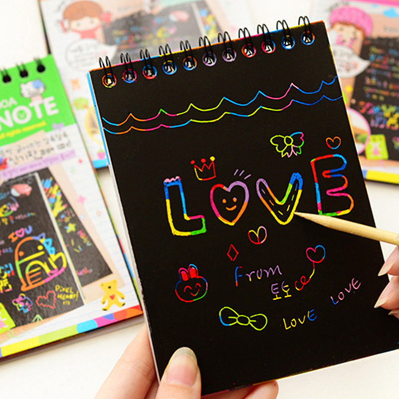 Coloffice Kawaii Memo Pads Kids Rainbow Colorful Scratch Art Kit Magic Drawing Painting Paper Notebook School &office Suppplies