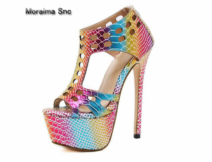 Moraima Snc brand sandals women peep toe mixed colors shoes for gilrs sexy cut-out high heels sandals women platform shoes women