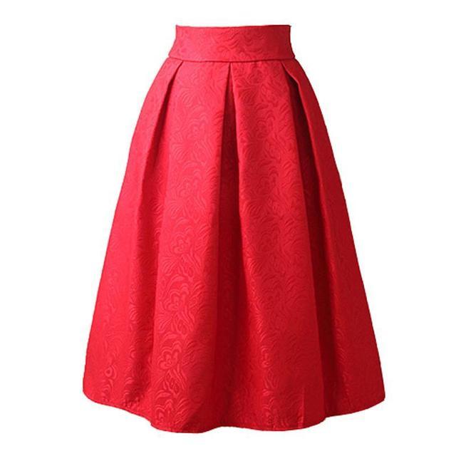 Nuevas faldas de verano 2016 estilo vintage falda de cintura alta work desgaste Midi Jupe Faldas Para Mujer de Moda rojo azul negro Femme Saias