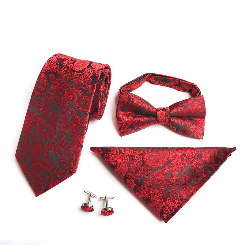 New Men/'s Bow Tie Pocket Square Set Silk Red Black Floral Handkerchief For Party
