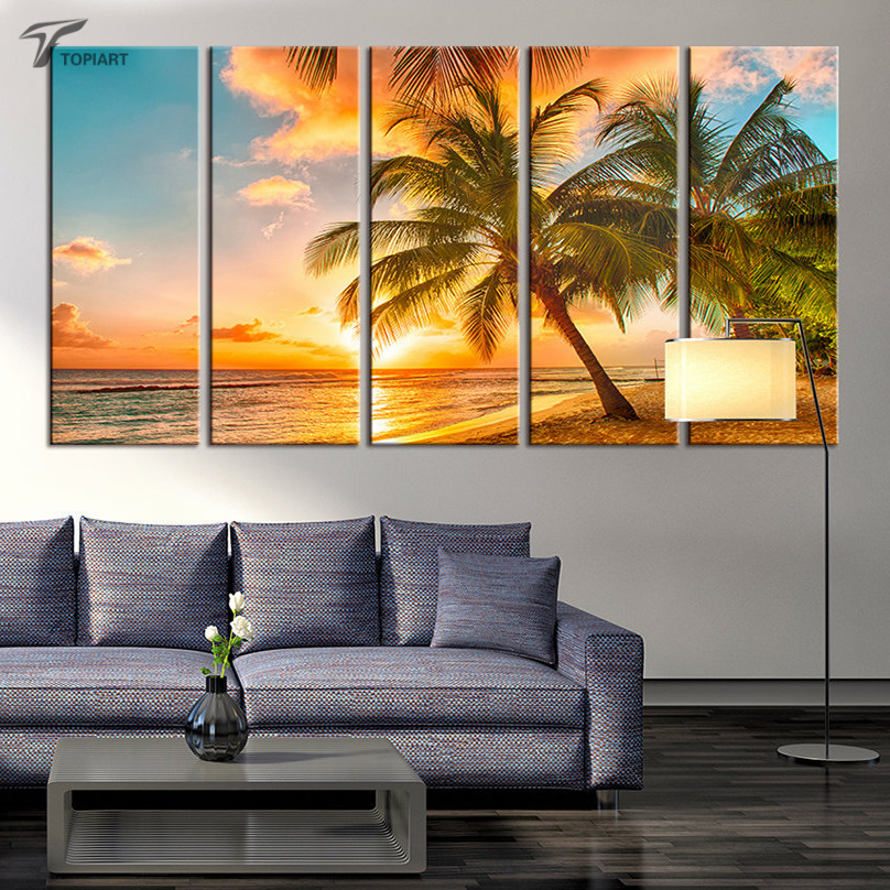 Buy large wall art canvas beach coconut for Big wall art