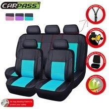 Car-pass (delantero Trasero de Cuero de LA PU) Cubierta de Asiento de coche Universal Fit para Toyota Accesorios Interiores Del Coche Asiento Protector Para Chevrolet