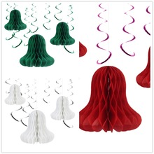 17pcs/set Christmas Decorations Paper Bell Honeycombs PVC Hanging Swirl Trees Ornaments New Year Decor