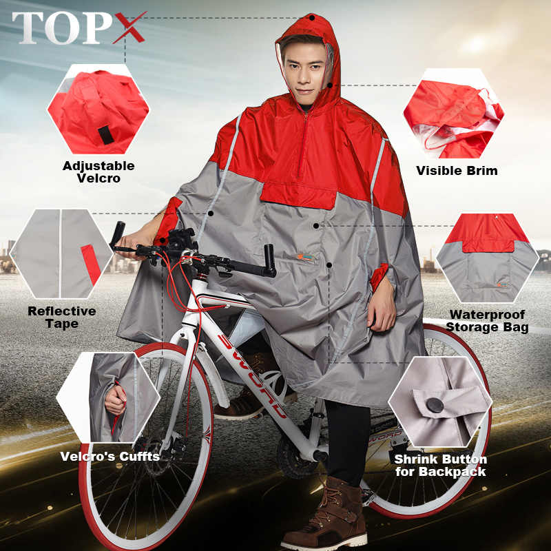 Impermeable Raincoat Women/Men Outdoor Rain Poncho Backpack Reflective Design Cycling Climbing Hiking Travel Rain Cover