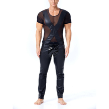Summer Men Casual T-Shirt PU Leather mesh stitching Street Swag Hip Hop Cotton Extended tee Short sleeves Tshirt