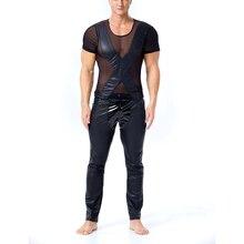Summer Men Casual T-Shirt Men PU Leather mesh stitching Street Swag Hip Hop Cotton Extended tee Short sleeves Men Tshirt illusion mesh yoke pu leather t shirt