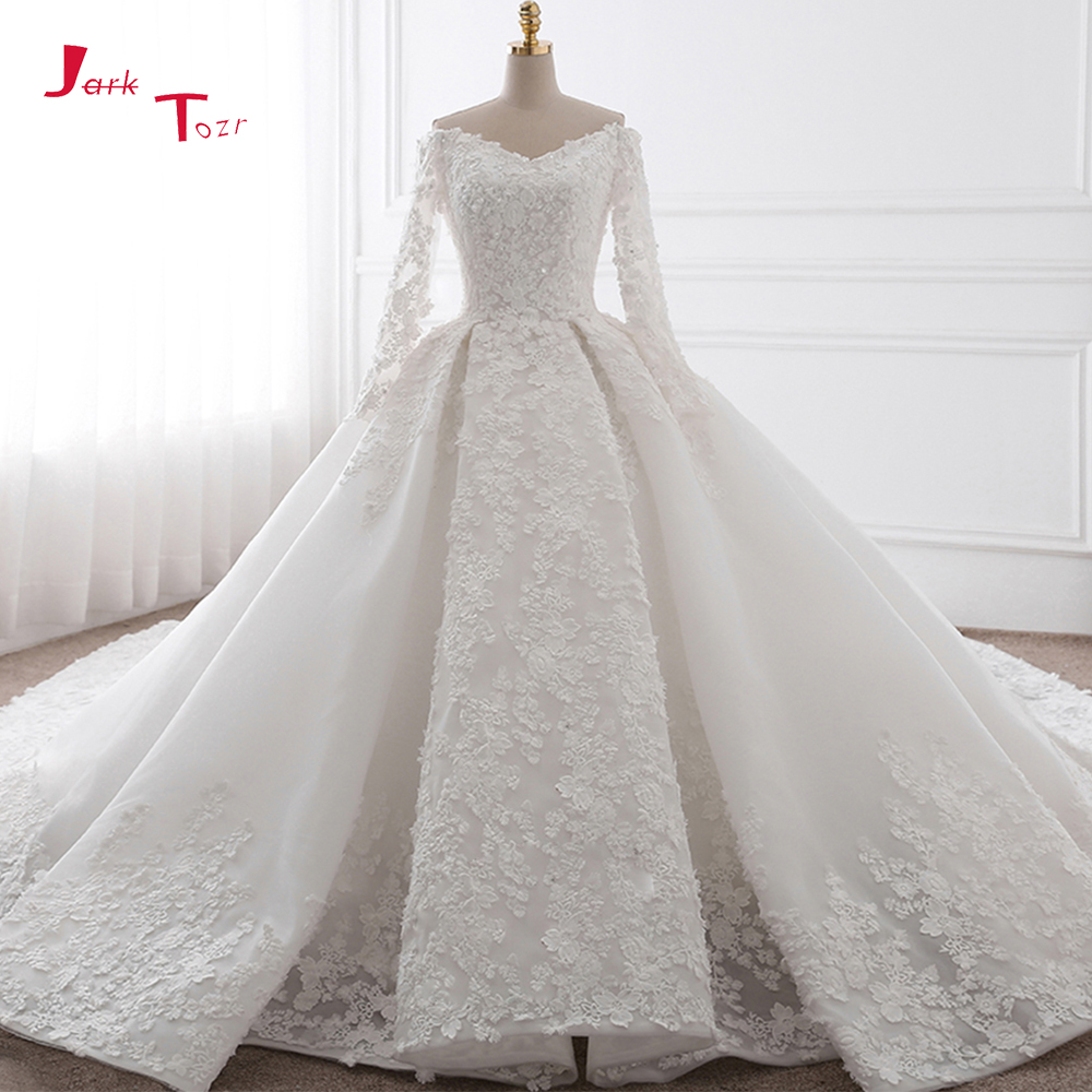 Jark Tozr V-neck Sexy Backless Full Sleeve Beading Sequins Chapel Train Gorgeous Ball Gown Wedding Dress Plus Size 2019 Mariage