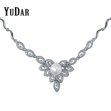 YUDAR Fashion Round Pearl Pave Cubic Zirconia Floral Necklace Best Gifts Necklaces Bridal Jewelry for Women Brides DAN-0001